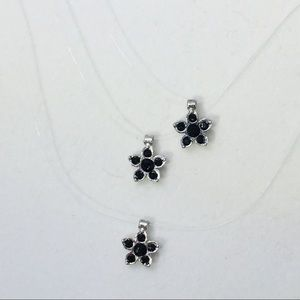 Black crystal flower illusion necklace